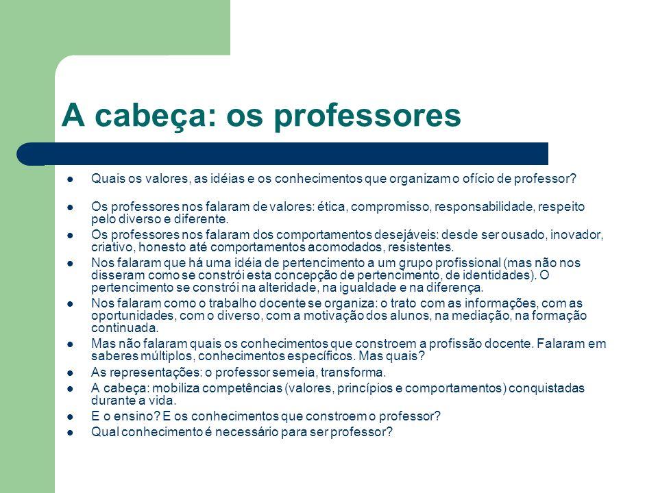 A cabeça: os professores Quais os valores, as idéias e os conhecimentos que organizam o ofício de professor.
