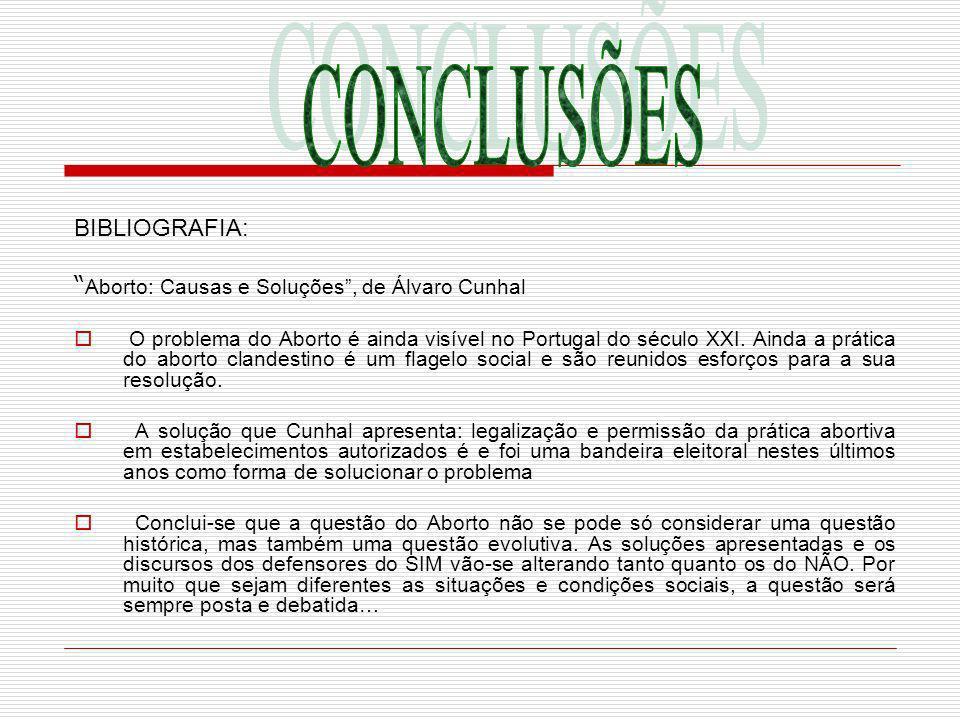 BIBLIOGRAFIA: Aborto: Causas e Soluções, de Álvaro Cunhal O problema do Aborto é ainda visível no Portugal do século XXI. Ainda a prática do aborto cl