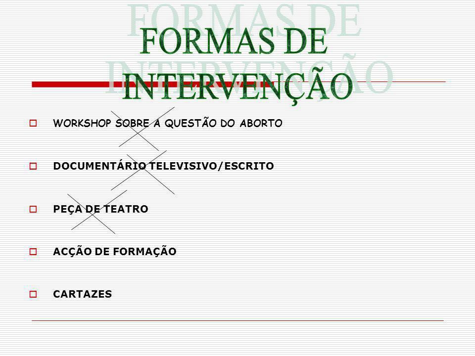 WORKSHOP SOBRE A QUESTÃO DO ABORTO DOCUMENTÁRIO TELEVISIVO/ESCRITO PEÇA DE TEATRO ACÇÃO DE FORMAÇÃO CARTAZES