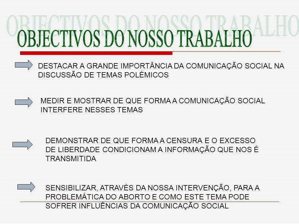 DESTACAR A GRANDE IMPORTÂNCIA DA COMUNICAÇÃO SOCIAL NA DISCUSSÃO DE TEMAS POLÉMICOS MEDIR E MOSTRAR DE QUE FORMA A COMUNICAÇÃO SOCIAL INTERFERE NESSES