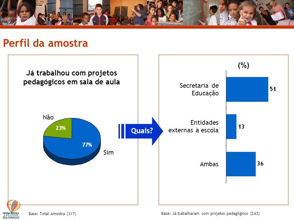 Perfil da amostra Base: Total Amostra (317) Já trabalhou com projetos pedagógicos em sala de aula Secretaria de Educação Sim Não Entidades externas à