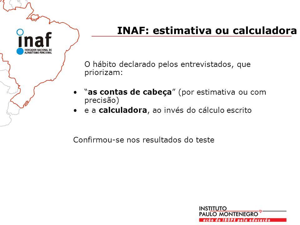 O hábito declarado pelos entrevistados, que priorizam: as contas de cabeça (por estimativa ou com precisão) e a calculadora, ao invés do cálculo escrito Confirmou-se nos resultados do teste INAF: estimativa ou calculadora