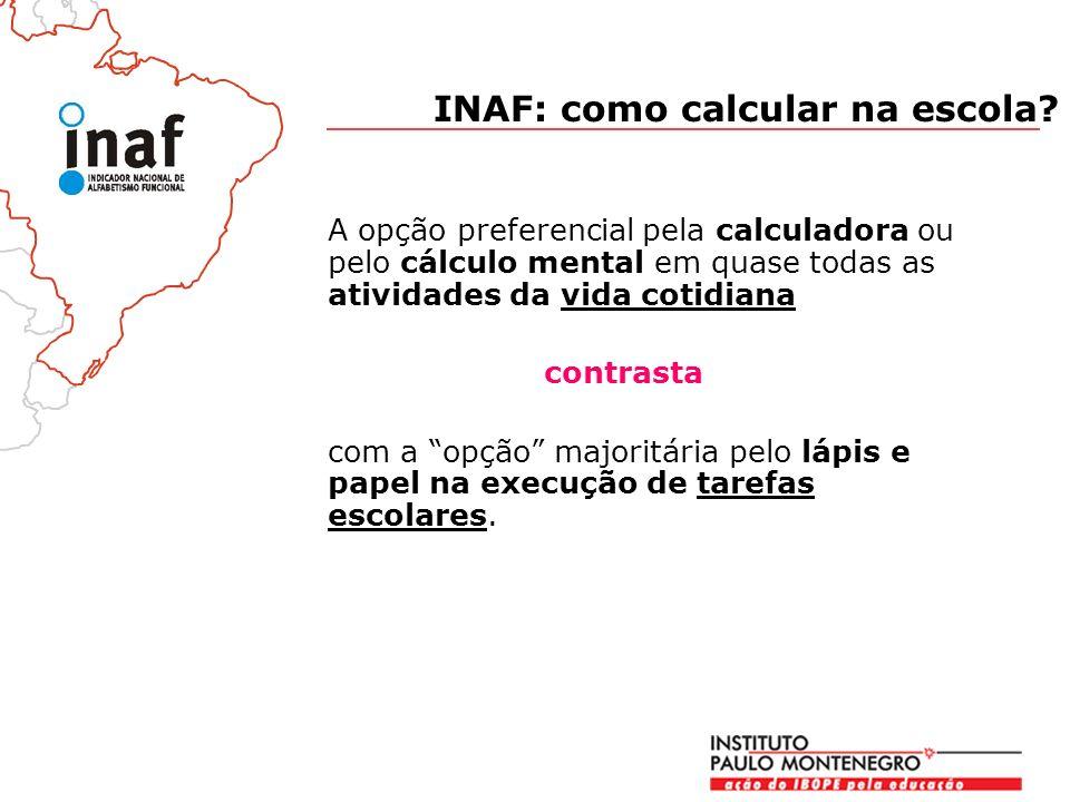 A opção preferencial pela calculadora ou pelo cálculo mental em quase todas as atividades da vida cotidiana contrasta com a opção majoritária pelo lápis e papel na execução de tarefas escolares.