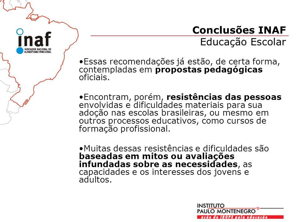 Essas recomendações já estão, de certa forma, contempladas em propostas pedagógicas oficiais.