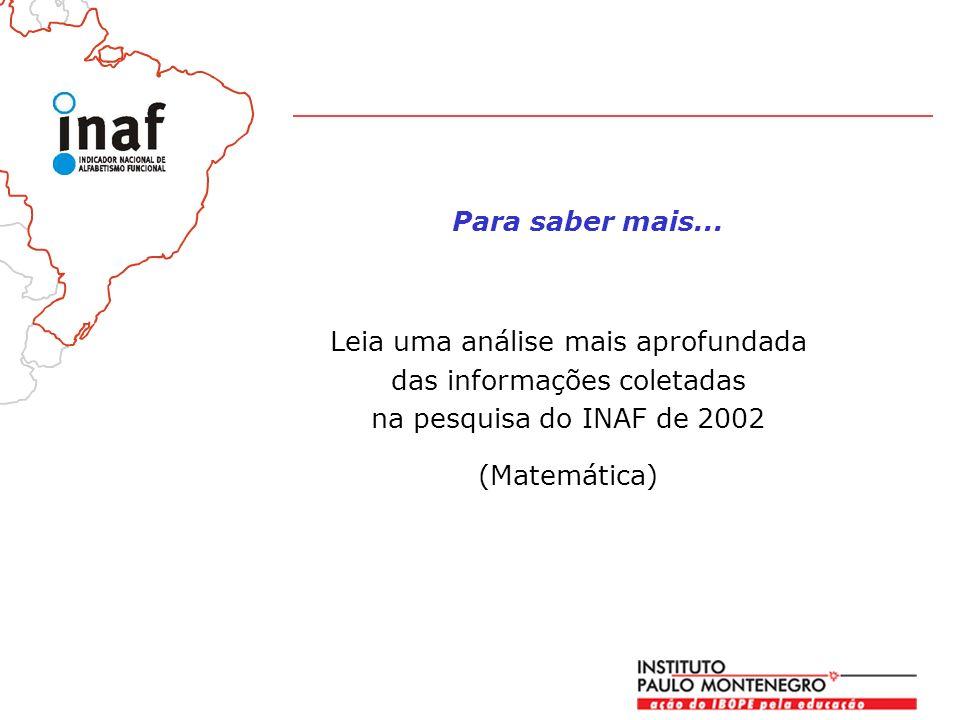 Leia uma análise mais aprofundada das informações coletadas na pesquisa do INAF de 2002 (Matemática) Para saber mais...