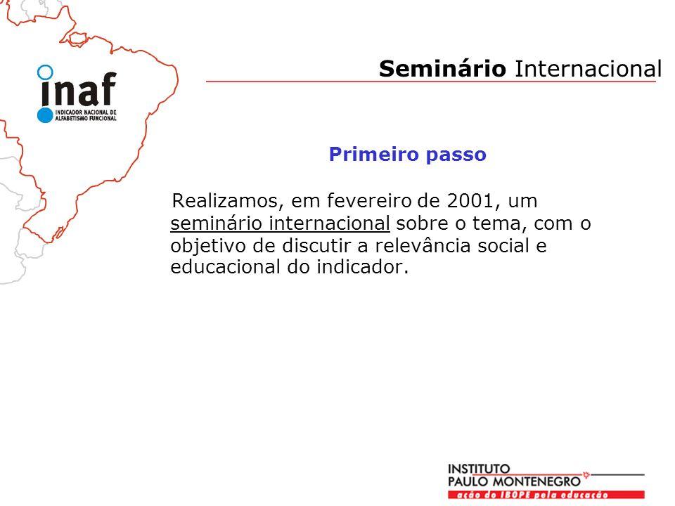 Realizamos, em fevereiro de 2001, um seminário internacional sobre o tema, com o objetivo de discutir a relevância social e educacional do indicador.
