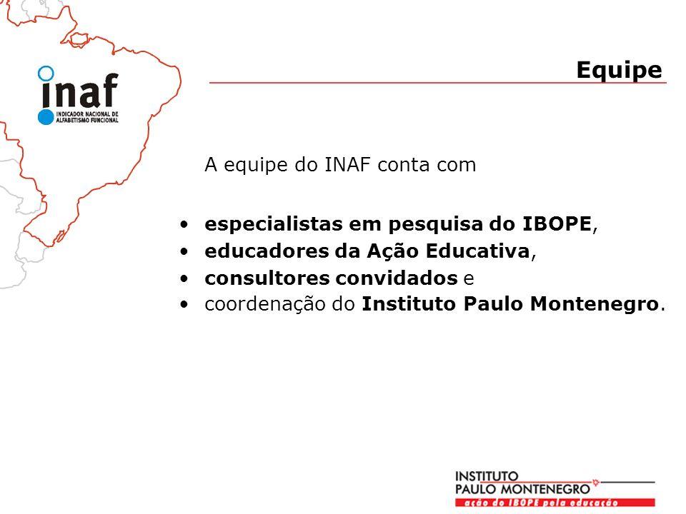 A equipe do INAF conta com especialistas em pesquisa do IBOPE, educadores da Ação Educativa, consultores convidados e coordenação do Instituto Paulo Montenegro.