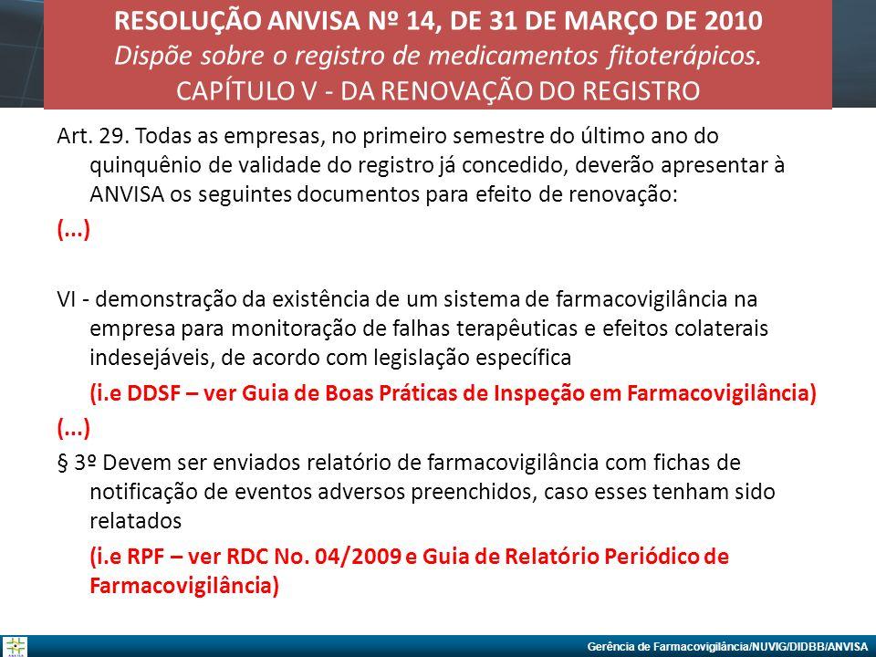 Gerência de Farmacovigilância/NUVIG/DIDBB/ANVISA RESOLUÇÃO ANVISA Nº 14, DE 31 DE MARÇO DE 2010 Dispõe sobre o registro de medicamentos fitoterápicos.
