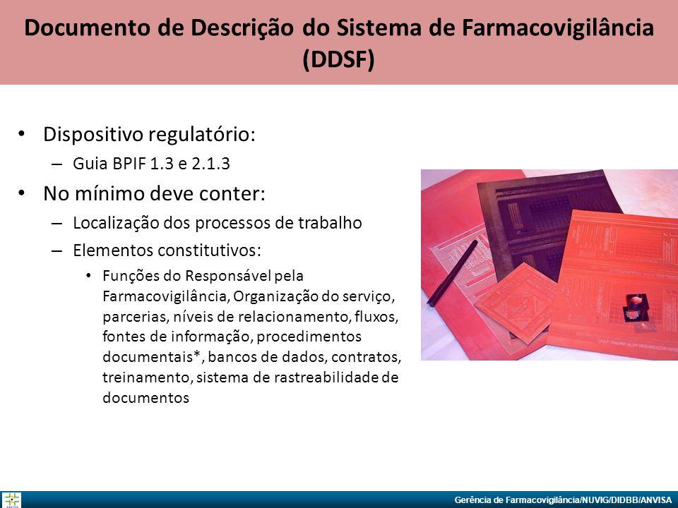 Gerência de Farmacovigilância/NUVIG/DIDBB/ANVISA Documento de Descrição do Sistema de Farmacovigilância (DDSF) Dispositivo regulatório: – Guia BPIF 1.