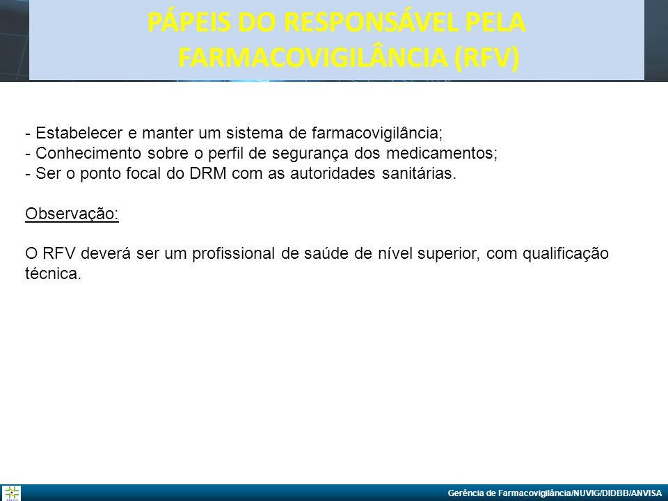 Gerência de Farmacovigilância/NUVIG/DIDBB/ANVISA PÁPEIS DO RESPONSÁVEL PELA FARMACOVIGILÂNCIA (RFV) - Estabelecer e manter um sistema de farmacovigilâ