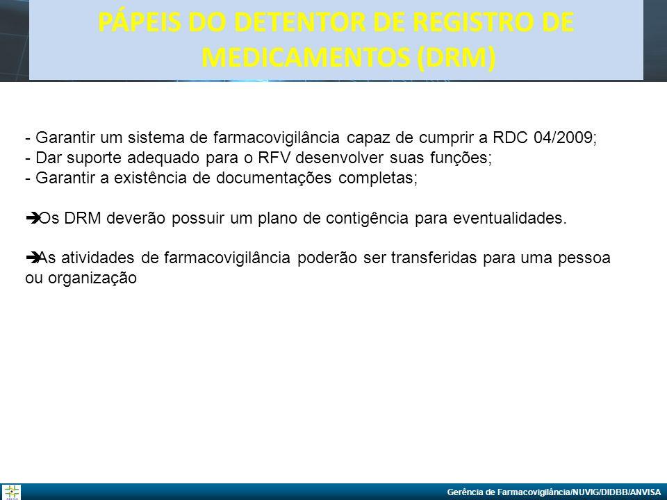 Gerência de Farmacovigilância/NUVIG/DIDBB/ANVISA PÁPEIS DO DETENTOR DE REGISTRO DE MEDICAMENTOS (DRM) - Garantir um sistema de farmacovigilância capaz