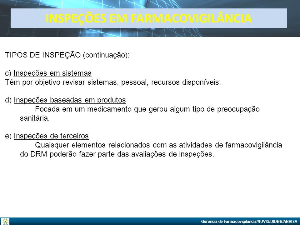 Gerência de Farmacovigilância/NUVIG/DIDBB/ANVISA TIPOS DE INSPEÇÃO (continuação): c) Inspeções em sistemas Têm por objetivo revisar sistemas, pessoal,