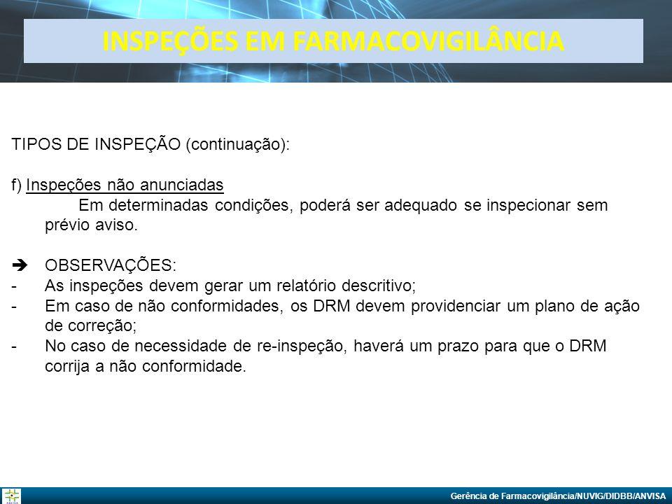 Gerência de Farmacovigilância/NUVIG/DIDBB/ANVISA TIPOS DE INSPEÇÃO (continuação): f) Inspeções não anunciadas Em determinadas condições, poderá ser ad