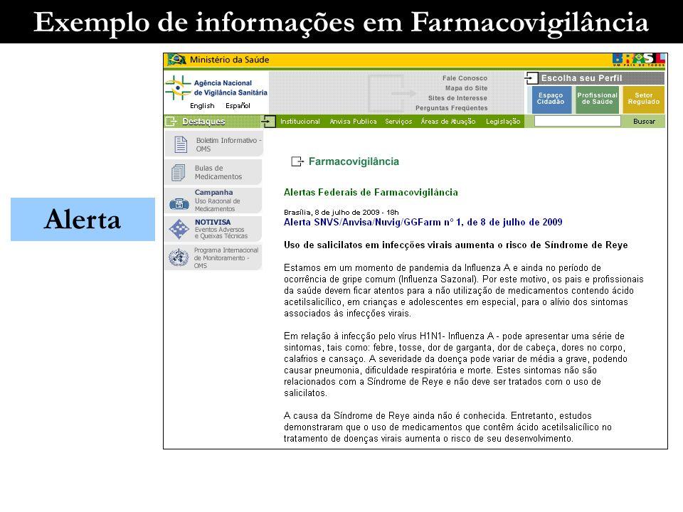 Exemplo de informações em Farmacovigilância Alerta