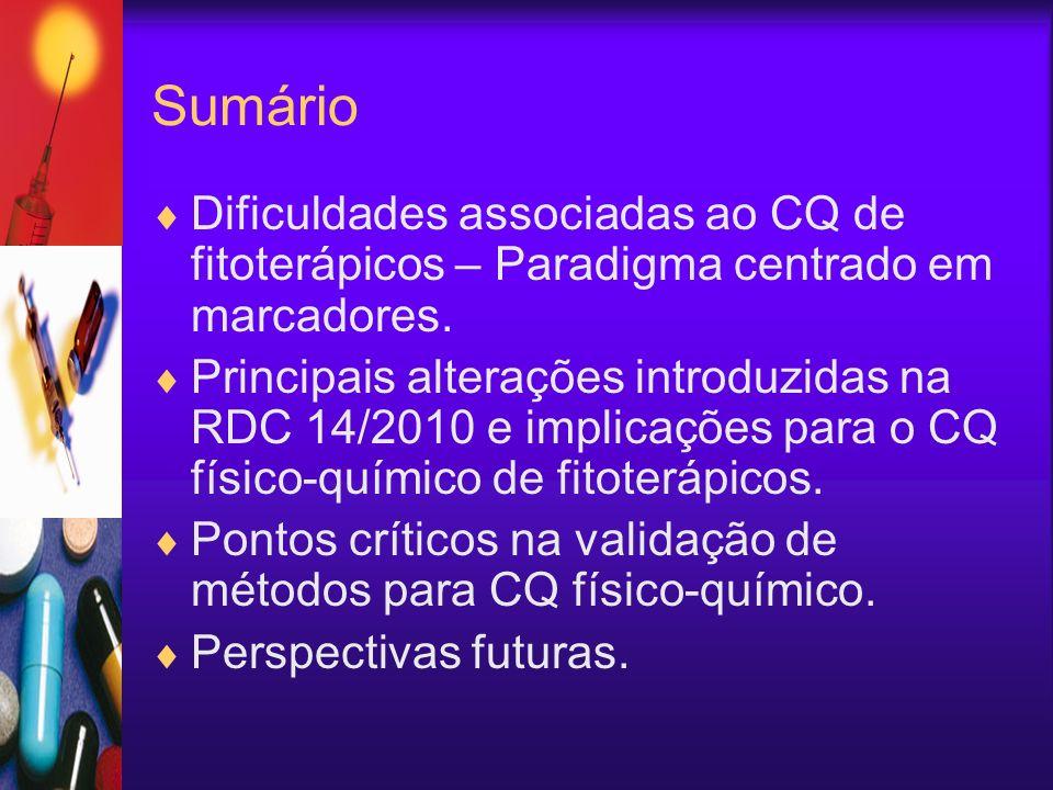 Sumário Dificuldades associadas ao CQ de fitoterápicos – Paradigma centrado em marcadores. Principais alterações introduzidas na RDC 14/2010 e implica