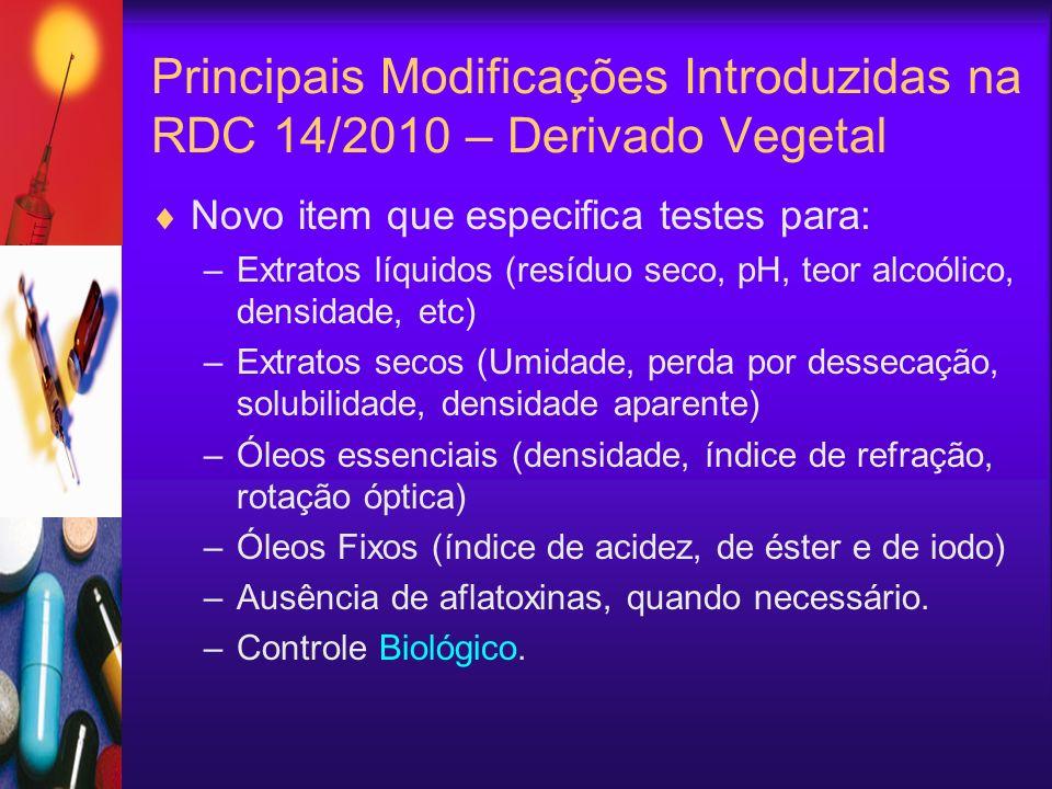 Novo item que especifica testes para: –Extratos líquidos (resíduo seco, pH, teor alcoólico, densidade, etc) –Extratos secos (Umidade, perda por dessec