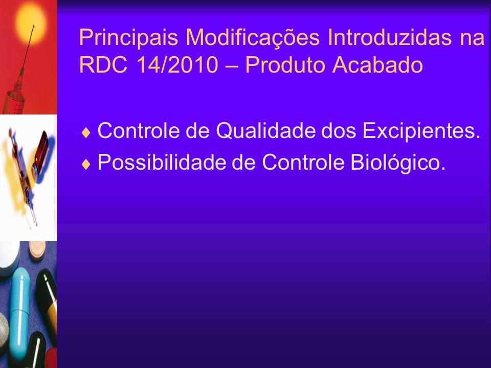 Controle de Qualidade dos Excipientes. Possibilidade de Controle Biológico. Principais Modificações Introduzidas na RDC 14/2010 – Produto Acabado