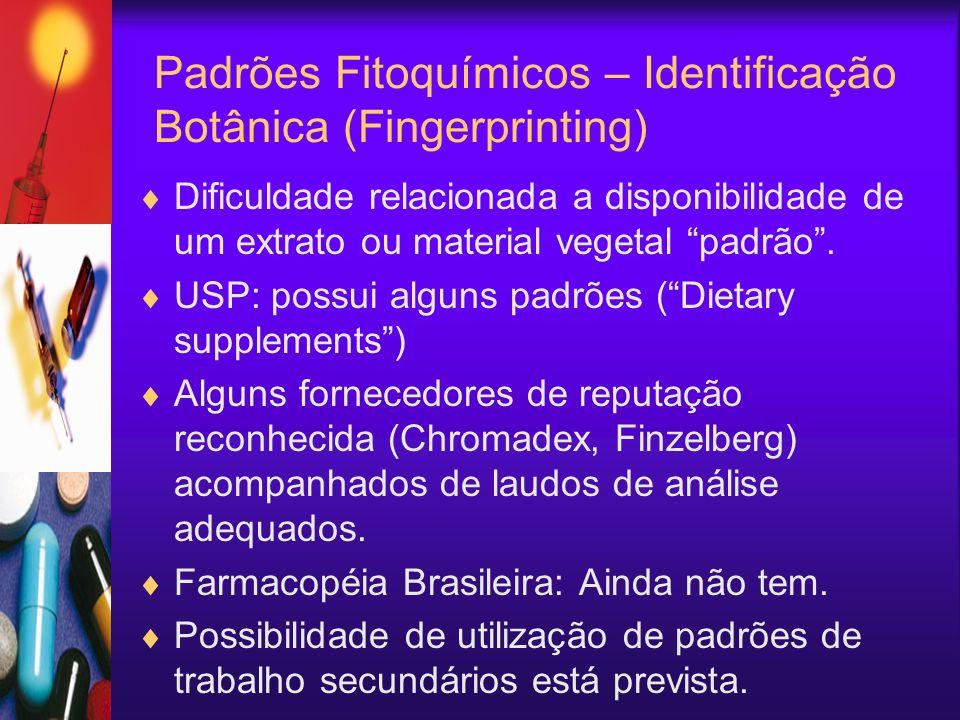 Padrões Fitoquímicos – Identificação Botânica (Fingerprinting) Dificuldade relacionada a disponibilidade de um extrato ou material vegetal padrão. USP