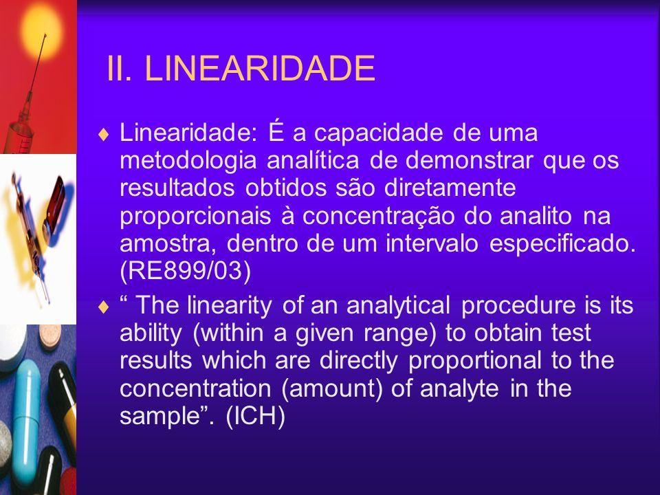 II. LINEARIDADE Linearidade: É a capacidade de uma metodologia analítica de demonstrar que os resultados obtidos são diretamente proporcionais à conce