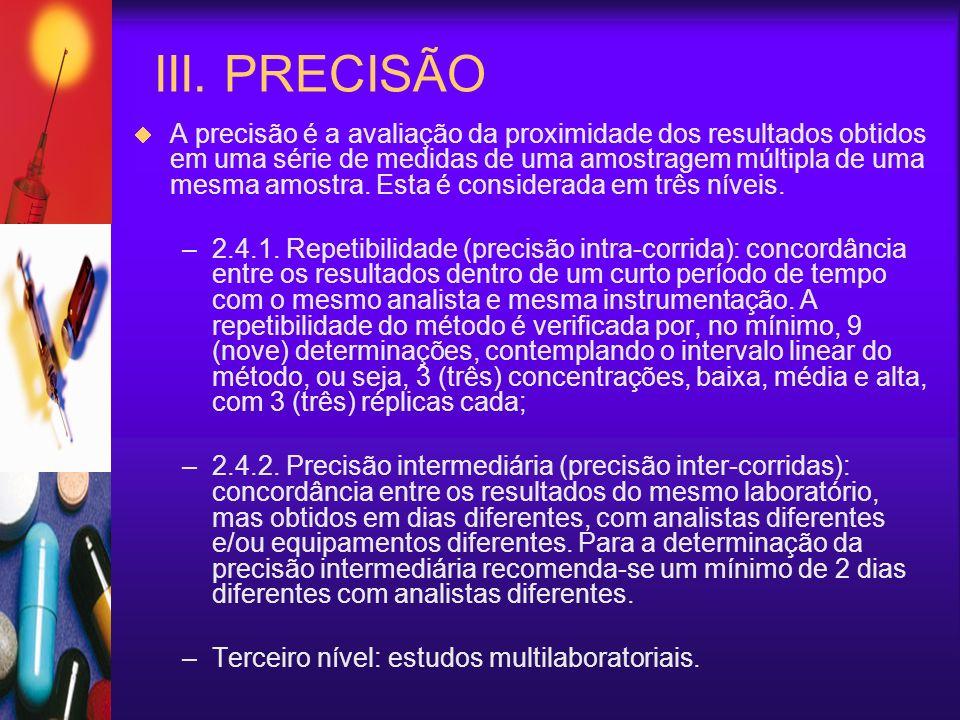 III. PRECISÃO A precisão é a avaliação da proximidade dos resultados obtidos em uma série de medidas de uma amostragem múltipla de uma mesma amostra.