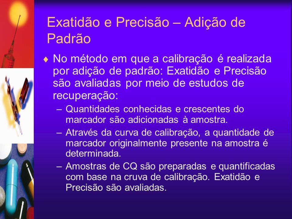 Exatidão e Precisão – Adição de Padrão No método em que a calibração é realizada por adição de padrão: Exatidão e Precisão são avaliadas por meio de e