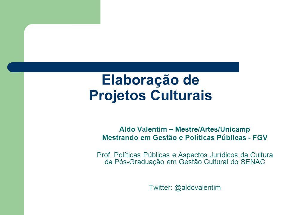 Elaboração de Projetos Culturais Aldo Valentim – Mestre/Artes/Unicamp Mestrando em Gestão e Políticas Públicas - FGV Prof. Políticas Públicas e Aspect