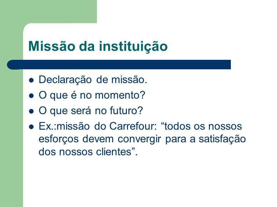 Missão da instituição Declaração de missão. O que é no momento? O que será no futuro? Ex.:missão do Carrefour: todos os nossos esforços devem convergi