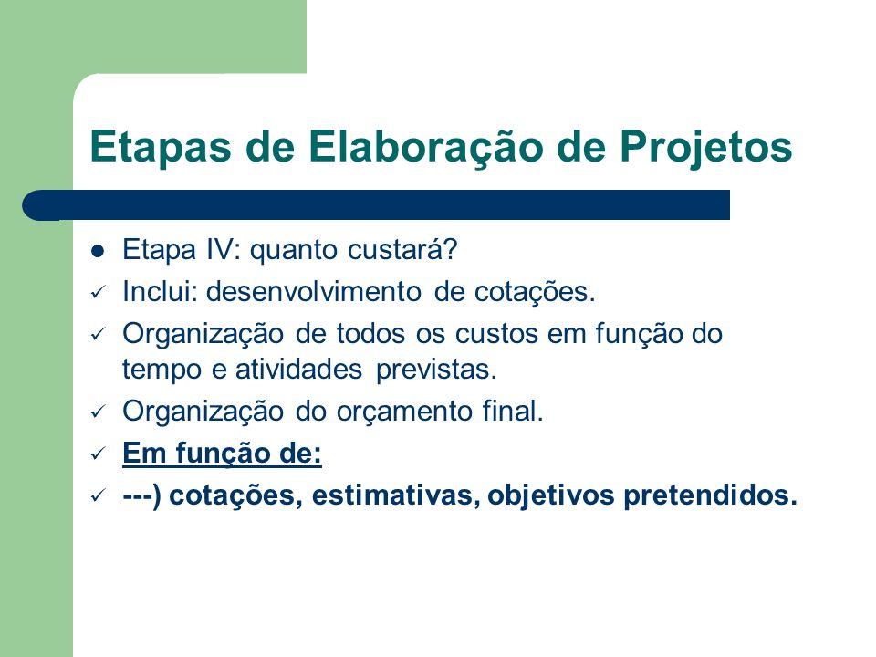 Etapas de Elaboração de Projetos Etapa IV: quanto custará? Inclui: desenvolvimento de cotações. Organização de todos os custos em função do tempo e at