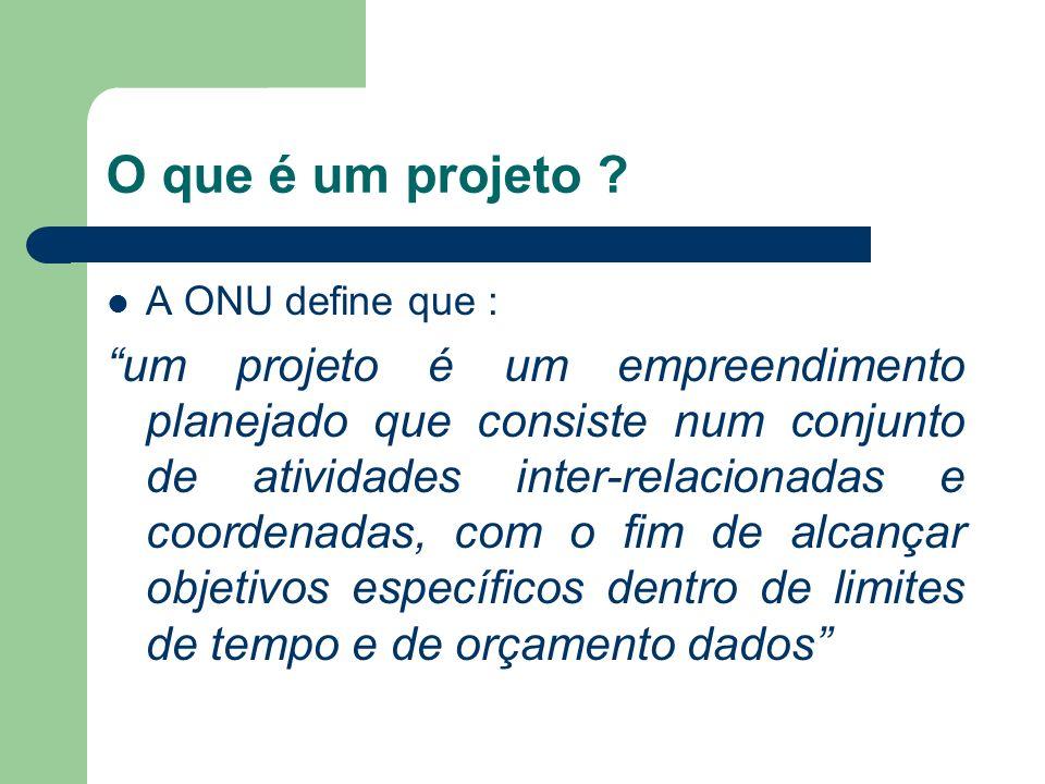 O que é um projeto ? A ONU define que : um projeto é um empreendimento planejado que consiste num conjunto de atividades inter-relacionadas e coordena