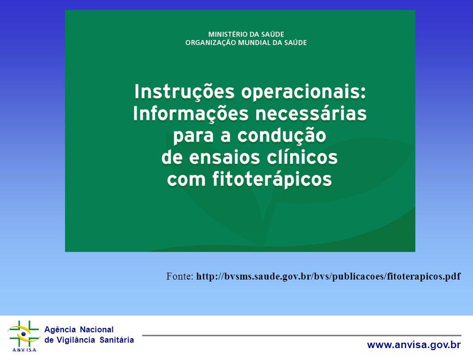 Agência Nacional de Vigilância Sanitária www.anvisa.gov.br Fonte: http://bvsms.saude.gov.br/bvs/publicacoes/fitoterapicos.pdf