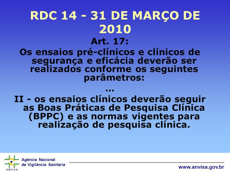 Agência Nacional de Vigilância Sanitária www.anvisa.gov.br RDC 14 - 31 DE MARÇO DE 2010 Art. 17: Os ensaios pré-clínicos e clínicos de segurança e efi