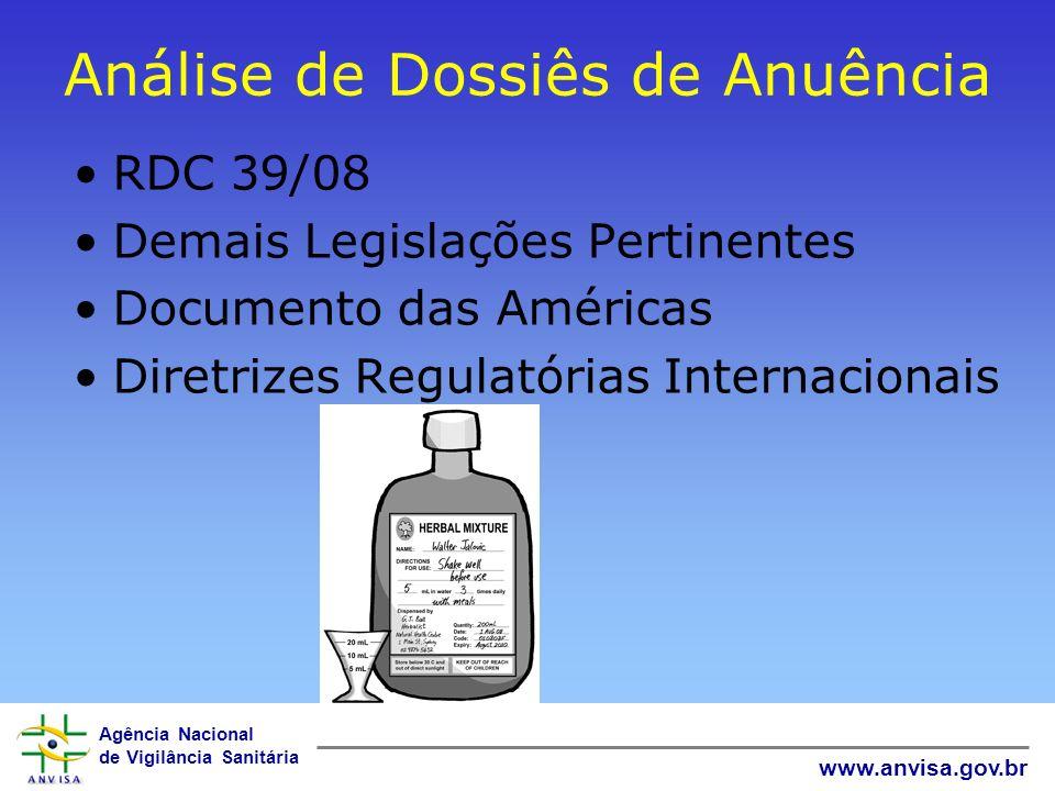 Agência Nacional de Vigilância Sanitária www.anvisa.gov.br Análise de Dossiês de Anuência RDC 39/08 Demais Legislações Pertinentes Documento das Améri