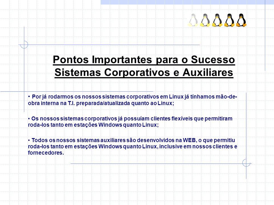 Pontos Importantes para o Sucesso Sistemas Corporativos e Auxiliares Por já rodarmos os nossos sistemas corporativos em Linux já tínhamos mão-de- obra