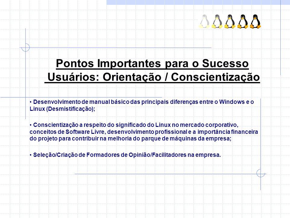 Pontos Importantes para o Sucesso Usuários: Orientação / Conscientização Desenvolvimento de manual básico das principais diferenças entre o Windows e
