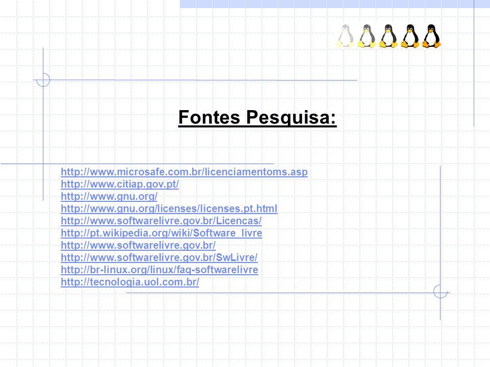Fontes Pesquisa: http://www.microsafe.com.br/licenciamentoms.asp http://www.citiap.gov.pt/ http://www.gnu.org/ http://www.gnu.org/licenses/licenses.pt