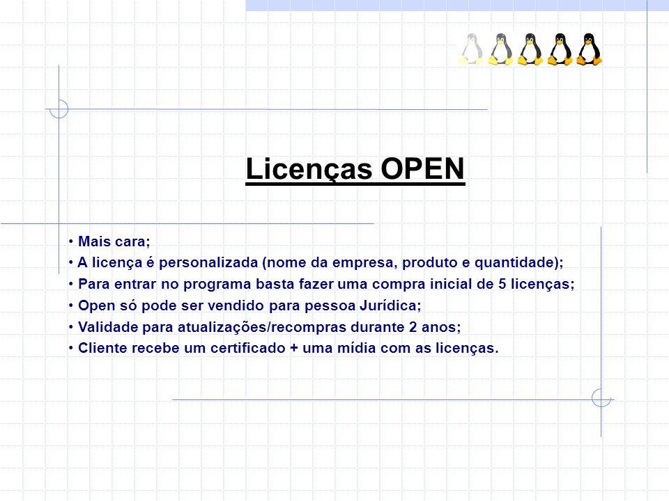 Licenças OPEN Mais cara; A licença é personalizada (nome da empresa, produto e quantidade); Para entrar no programa basta fazer uma compra inicial de