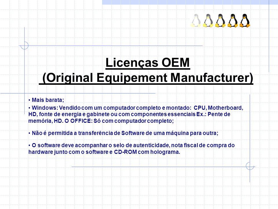 Licenças OEM (Original Equipement Manufacturer) Mais barata; Windows: Vendido com um computador completo e montado: CPU, Motherboard, HD, fonte de ene