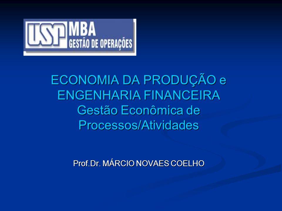 ECONOMIA DA PRODUÇÃO e ENGENHARIA FINANCEIRA Gestão Econômica de Processos/Atividades Prof.Dr. MÁRCIO NOVAES COELHO