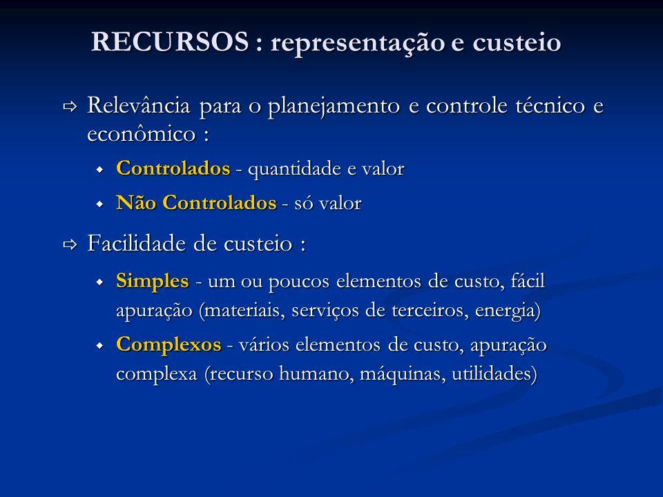 RECURSOS : representação e custeio Relevância para o planejamento e controle técnico e econômico : Relevância para o planejamento e controle técnico e