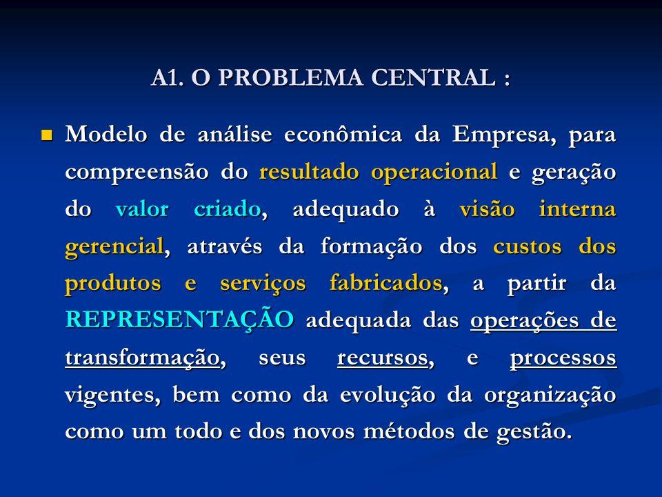 A1. O PROBLEMA CENTRAL : Modelo de análise econômica da Empresa, para compreensão do resultado operacional e geração do valor criado, adequado à visão