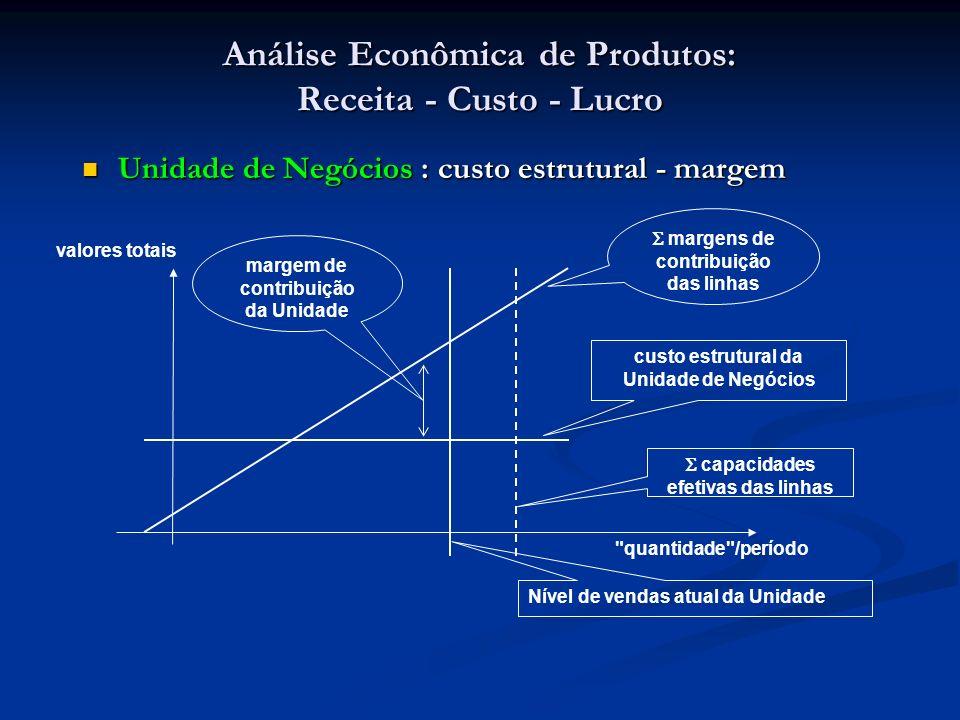 Análise Econômica de Produtos: Receita - Custo - Lucro Unidade de Negócios : custo estrutural - margem Unidade de Negócios : custo estrutural - margem