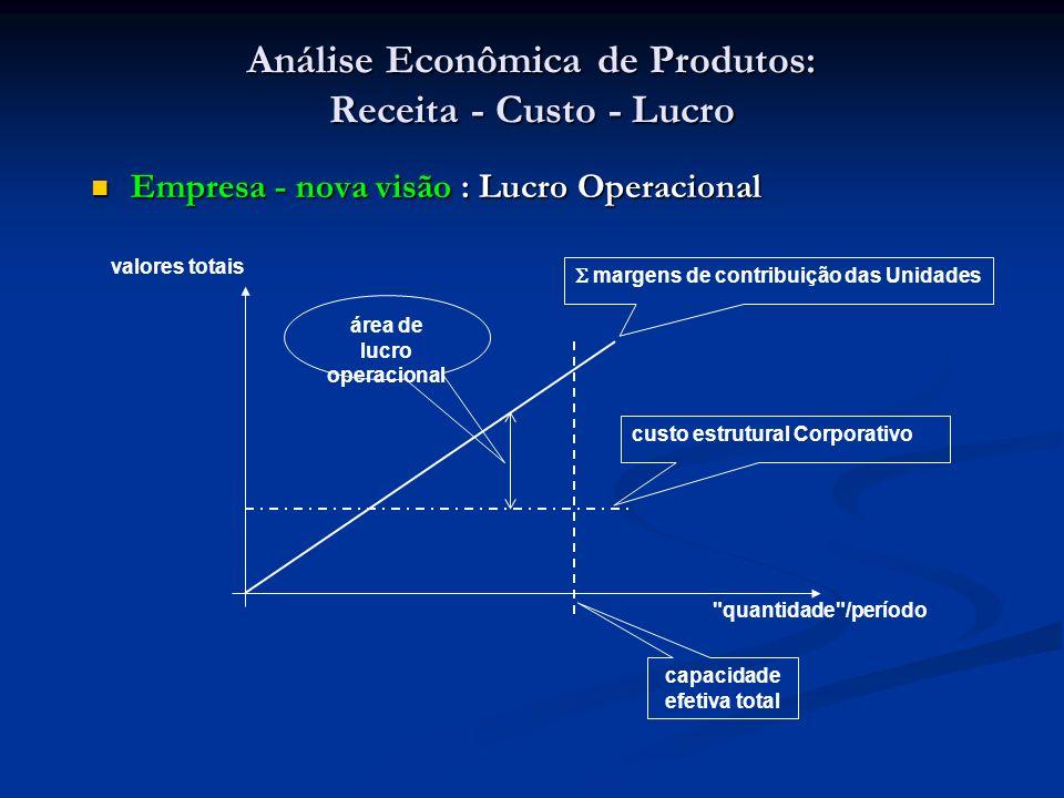 Análise Econômica de Produtos: Receita - Custo - Lucro Empresa - nova visão : Lucro Operacional Empresa - nova visão : Lucro Operacional margens de co