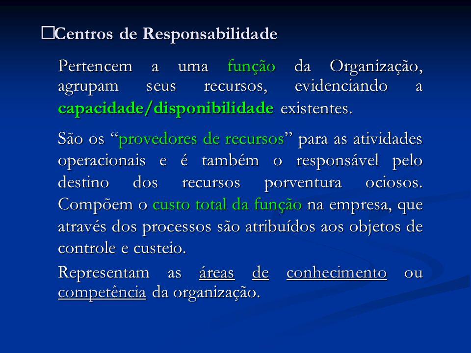 Centros de Responsabilidade Centros de Responsabilidade Pertencem a uma função da Organização, agrupam seus recursos, evidenciando a capacidade/dispon