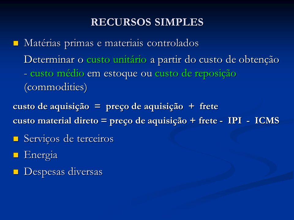 RECURSOS SIMPLES Matérias primas e materiais controlados Matérias primas e materiais controlados Determinar o custo unitário a partir do custo de obte
