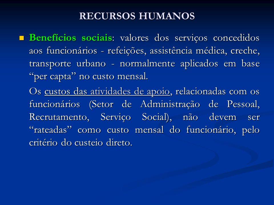 RECURSOS HUMANOS Benefícios sociais: valores dos serviços concedidos aos funcionários - refeições, assistência médica, creche, transporte urbano - nor