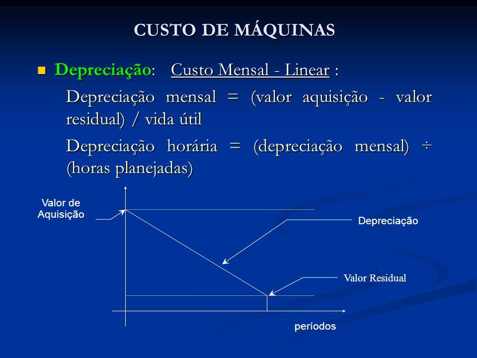 Depreciação: Custo Mensal - Linear : Depreciação: Custo Mensal - Linear : Depreciação mensal = (valor aquisição - valor residual) / vida útil Deprecia