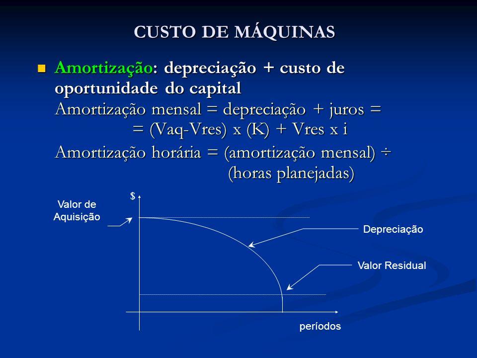 CUSTO DE MÁQUINAS Amortização: depreciação + custo de oportunidade do capital Amortização: depreciação + custo de oportunidade do capital Amortização