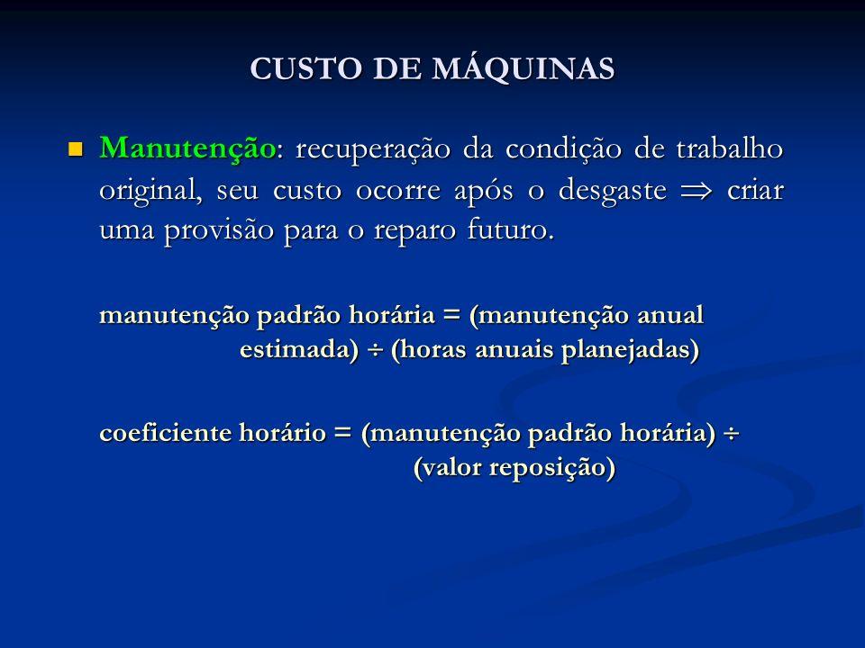 CUSTO DE MÁQUINAS Manutenção: recuperação da condição de trabalho original, seu custo ocorre após o desgaste criar uma provisão para o reparo futuro.