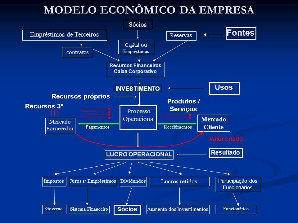 MODELO ECONÔMICO DA EMPRESA INVESTIMENTO Recursos 3º Mercado Cliente LUCRO OPERACIONAL Produtos / Serviços DividendosImpostos Sócios Reservas Emprésti