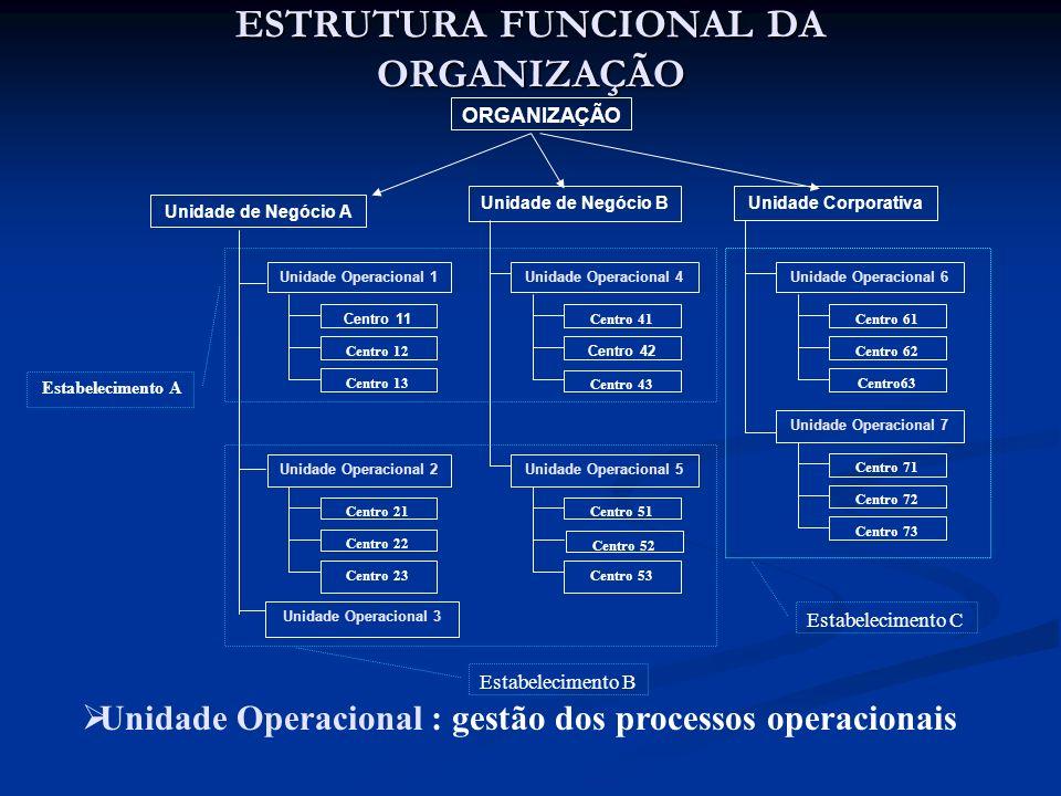 ESTRUTURA FUNCIONAL DA ORGANIZAÇÃO ORGANIZAÇÃO Unidade de Negócio A Unidade de Negócio BUnidade Corporativa Unidade Operacional 1 Unidade Operacional